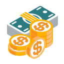 3d stack of money - investment icon